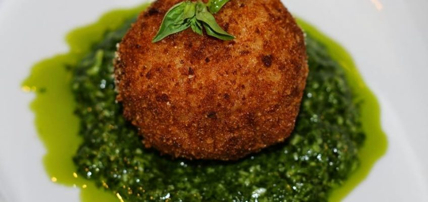 Truffled Wild Mushroom Risotto & Arancini in Baby Arugula UP Pesto