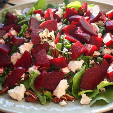 Roasted Beet Salad with Fresh Goat Cheese, Arugula and Toasted Pecans!