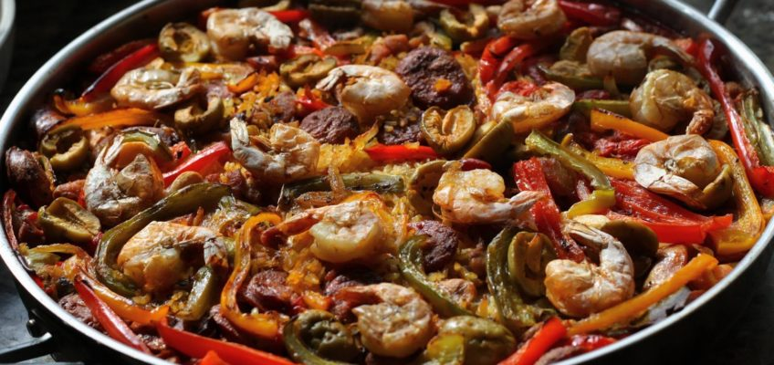 Traditional Paella with Shrimp, Chorizo, and Spicy Gordal Olives