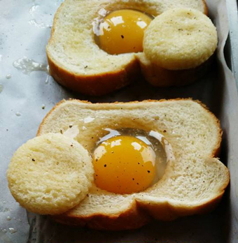 Oven Baked Eggs in a Brioche Basket + Heart Healthy Olive Oil = Breakfast of Champions