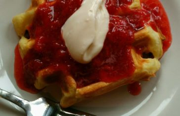 Lemon Agrumato Waffles with Fresh Strawberry and Cara Cara Orange-Vanilla Balsamic Compote