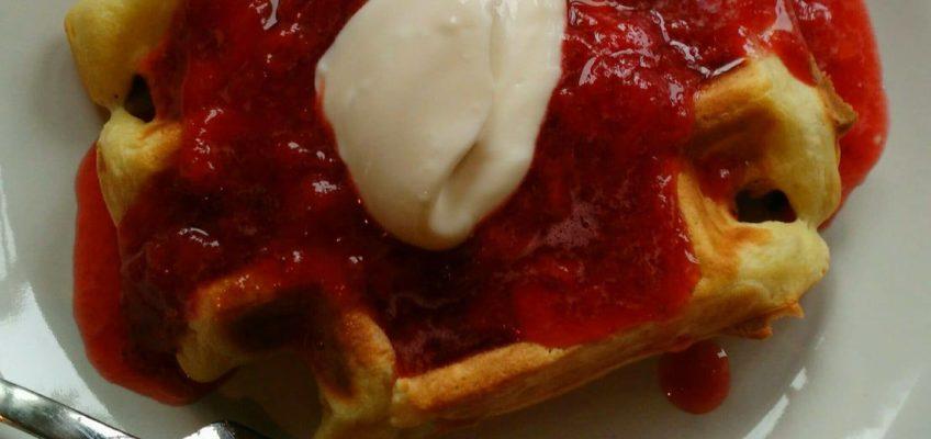Lemon Agrumato Waffles with Fresh Strawberry and Cara Cara Orange-Vanilla Balsamic Compote